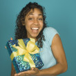 Stock Photo: Young womholding wrapped present