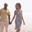 Stock Photo: Africcouple holding hands outdoors