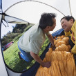 Couple kissing in tent — Stock Photo
