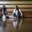 Basketball players resting on the sidelines - Foto Stock
