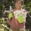 Senior Hispanic woman holding packets of flower seeds — Stock Photo