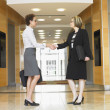 Side view of businesswomen shaking hands - Stock Photo