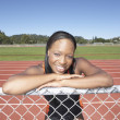Stock Photo: Portrait of female track athlete