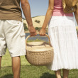 Stock Photo: Couple holding picnic basket