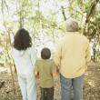 Stock Photo: Hispanic family holding hands in woods