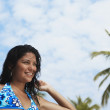 South American woman in bathing suit - Stock Photo