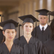 College students in cap and gown - Stock Photo