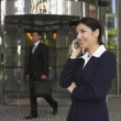 Stock Photo: Businesswomtalking on cell phone