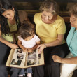 Female members of a family looking at a photo album together — Stock Photo