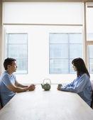 Couple having tea together — Stock Photo