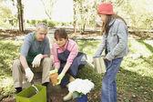 Hispanic grandparents and granddaughter gardening — Stock Photo