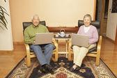 Dizüstü bilgisayarlar kullanırken çay sahip üst düzey asya çift — Stok fotoğraf