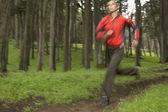 Suddig bild av kvinna jogga i skogen — Stockfoto