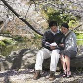 Couple asiatique en regardant livre guide dans le parc — Photo