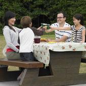 Wieloetnicznych rodziny jedzenie na stole piknikowym — Zdjęcie stockowe