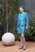 Hispanic businesswoman laughing — Stock Photo
