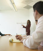 Businesswoman pointing to graph at meeting — Stock Photo