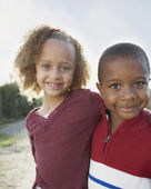 Portrait of two children hugging — Stock Photo