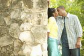 Couple kissing outdoors — Stock Photo