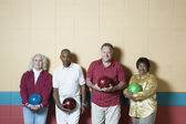 Group portrait at bowling alley — Stock Photo