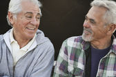 Two senior men laughing and talking — Stock Photo