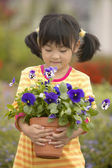 Girl holding pot of flowers — Stock Photo