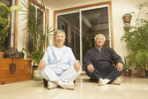 Senior Asian couple sitting cross-legged on the floor — Stock Photo