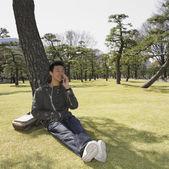Uomo asiatico, appoggiandosi sull'albero e usando il telefono cellulare — Foto Stock