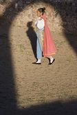 Hispanic woman wearing toreador outfit — Stock Photo