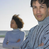 Young couple at beach — Stock Photo