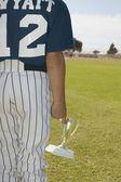 Mladý baseballový hráč hospodářství trophy — Stock fotografie
