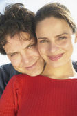 Close up portrait of couple hugging — Stock Photo