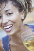 Portrait of woman laughing — Stock Photo