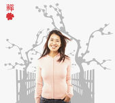 Portrait of Asian woman with hand in pocket — Stock Photo