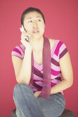 Young woman talking on a mobile phone — Stock Photo