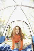 African American girl inside tent — Stock Photo