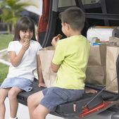 Brother and sister eating cookies in back of van — Stock Photo