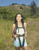 Female hiker in rural setting — Stock Photo