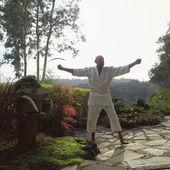 Man practicing karate — Stock Photo