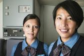 Portrait of two female flight attendants — Stock Photo