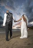 Nygifta promenerar på stranden — Stockfoto