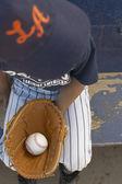 High angle view of boy with baseball and baseball glove — Stock Photo