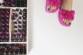 Nail polish and woman's feet — Stock Photo