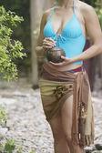 Woman holding wooden box — Stock Photo
