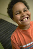 Portrait of boy laughing — Stock Photo