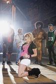Multi-ethnic breakdancers in warehouse — Stock Photo