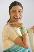 Indian woman in traditional clothing smiling — Stock Photo