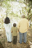 Hispanic family holding hands in woods — Stock Photo