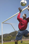 Goalie stopping ball in soccer game — Stok fotoğraf