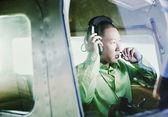Man inside airplane — Stock Photo